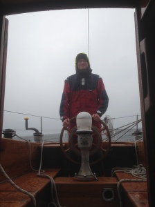 Angus passed the test of being left at the helm for hours in the rain without complaining (or stopping smiling)